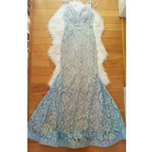 Xscape lt blue lace illusion fitted mermaid gown